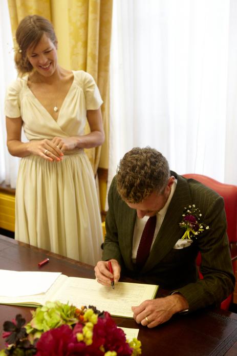 cream wool crepe wedding dress