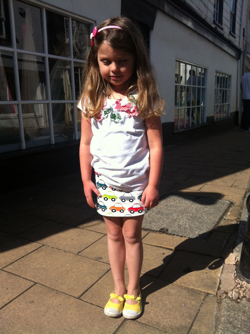 Mia-moo wearing car-print jersey mini skirt made out of a remnant