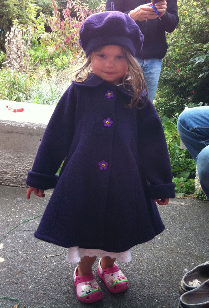 boiled wool child's swing coat and beret