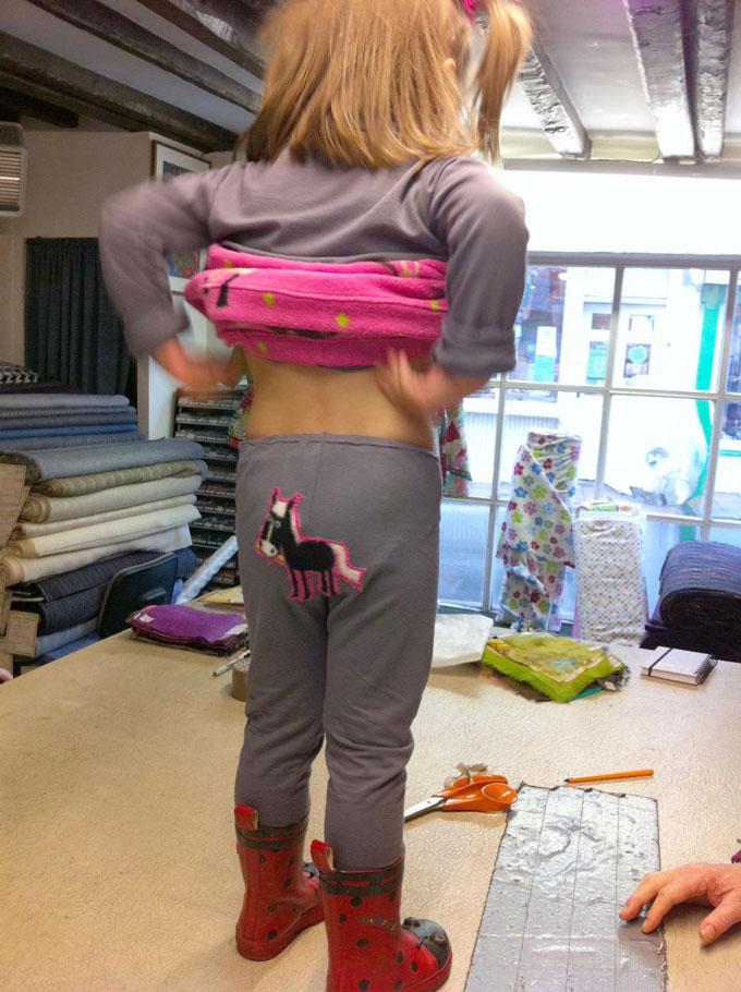 appliqued horse on bum of leggings
