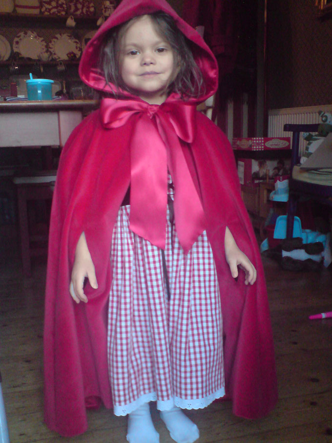 velvet cape and gingham red riding hood dress