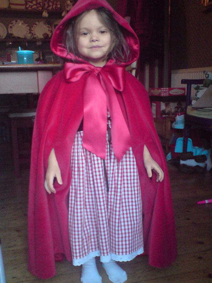 velvet cape and gingham red riding hood dress