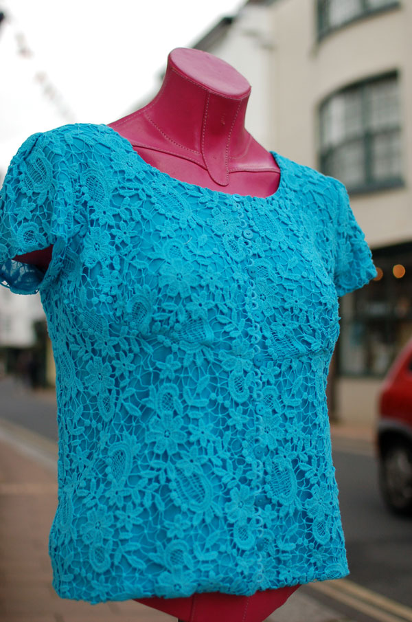 white guipure lace dyed turquoise