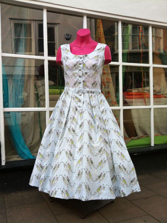 Cotton poplin Vintage Vogue dress and linen bolero