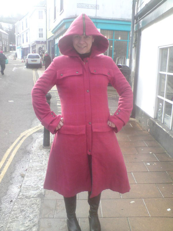 red check wool tweed coat quilted with wool wadding