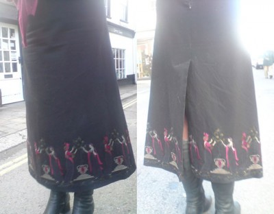 embroidered wool a-line skirt