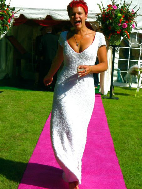 quartz beaded white linen wedding dress