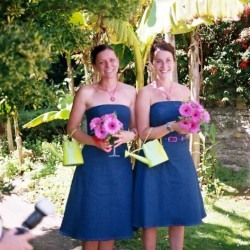 stretch denim strapless bridesmaids dresses
