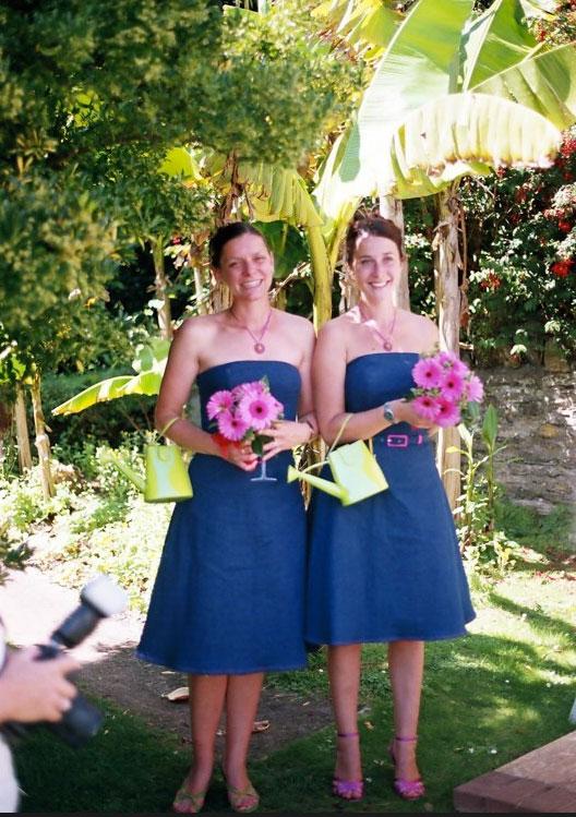 stretch denim strapless bridesmaids dresses