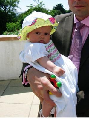 smocked linen baby dress