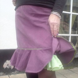 purple needlecord frill skirt
