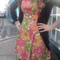 retro floral print panel dress