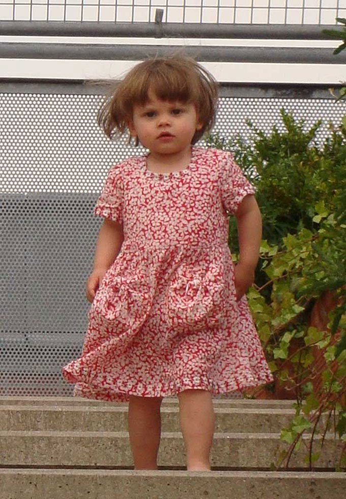 red floral printed cotton lawn dress
