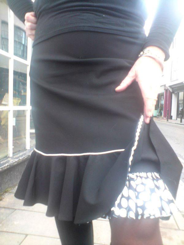 black worsted wool frill skirt
