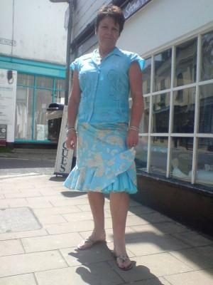 printed cotton ruffle hem skirt