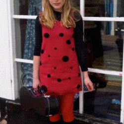 Red laser cut spotty worsted wool tunic dress