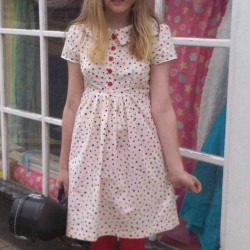 spotty cotton peter pan collar dress