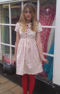 spotty cotton peter pan collar dress