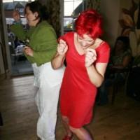 red linen jersey a-line dress