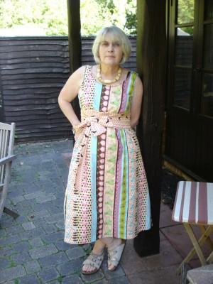 Tina Givens printed cotton flared dress