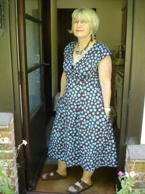 Turquoise spotty Kaffe Fassett cotton flared dress