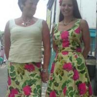 Brandon Mabley printed cotton dress and ruffle hem skirt