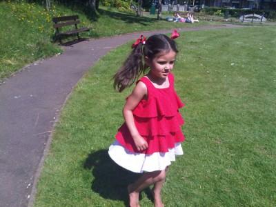 red spotty cotton ra-ra dress