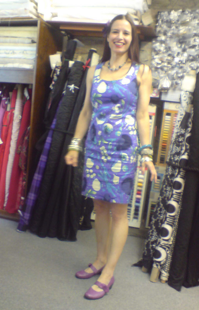 Brandon Mabley vegetable print cotton shift dress