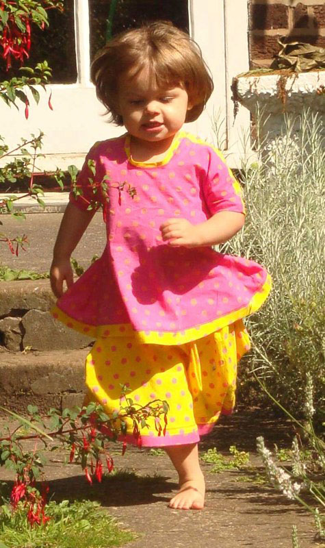 tina givens cupcake dress in pink and yellow spotty bubble cotton