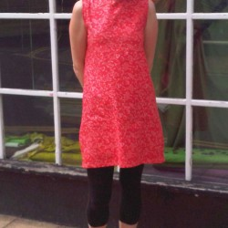 red robot print cotton dress