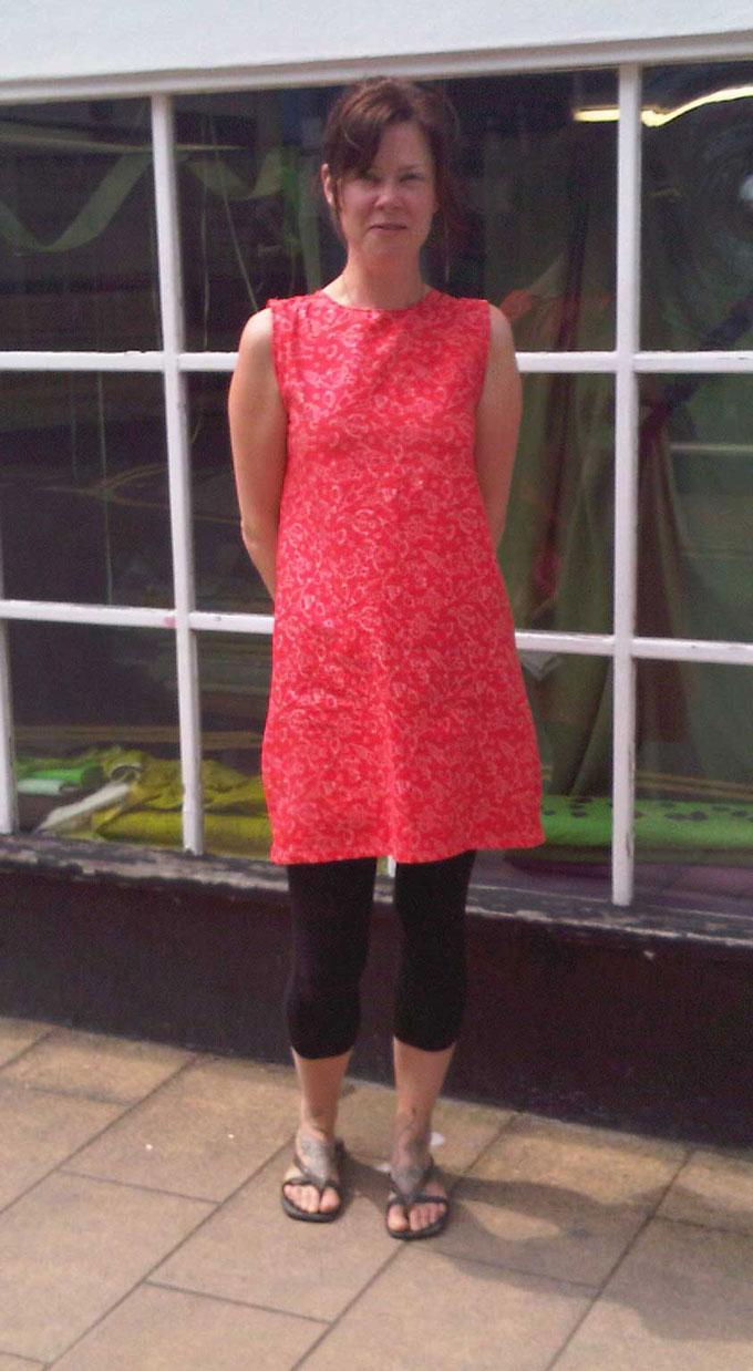 red robot print cotton dress