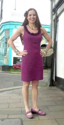 purple linen shift with chiffon trim