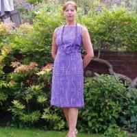 embroidered linen shift dress