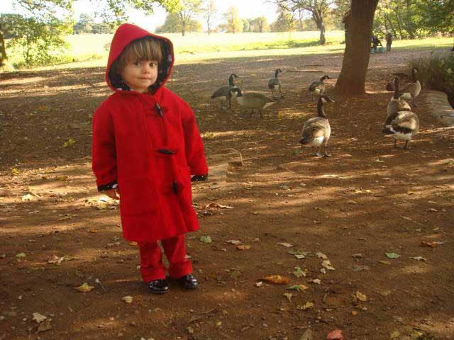 red wool duffle coat
