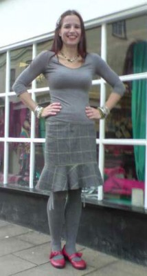 grey check wool tweed pencil skirt with frill