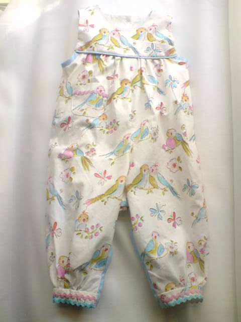 love bird printed cotton romper suit