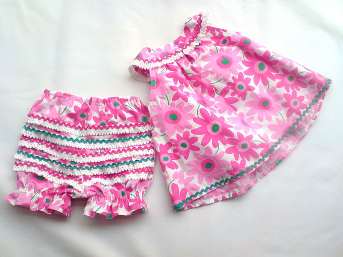 pink gerber printed baby dress and bloomers