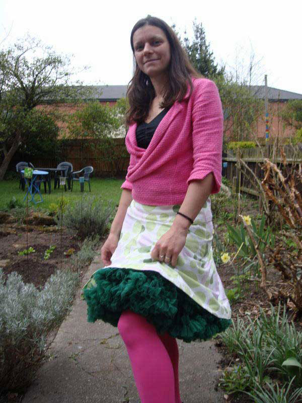tutu skirt and waffle cotton cardigan