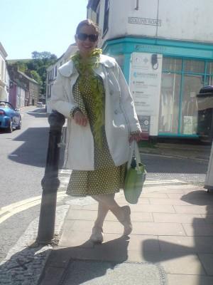 spotty cotton dress and raincoat