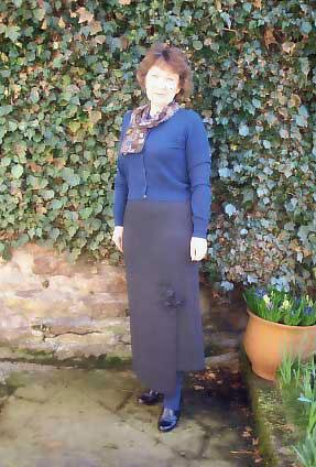 applique detail long wool skirt