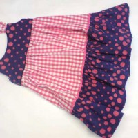 spotty and gingham cotton frill dress