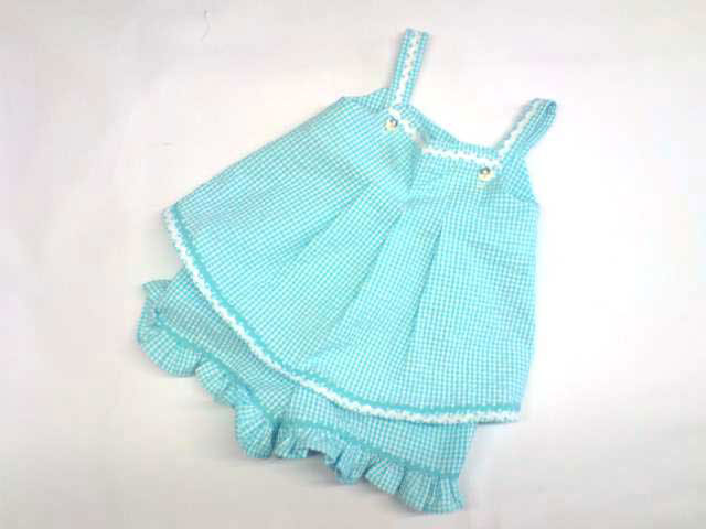 turquoise cotton gingham baby dress and bloomers