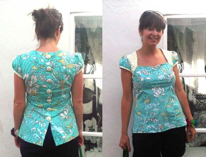 amy butler printed cotton button back top