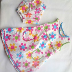 multicolour daisy print toddler dress with knickers