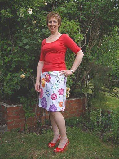 big flower print a-line skirt