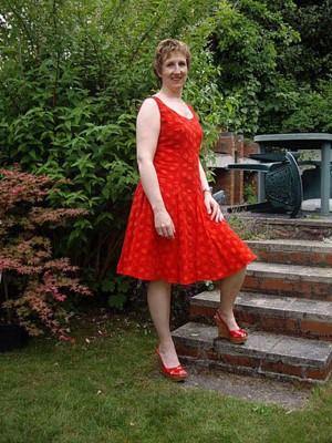 red spotty bubble cotton dress