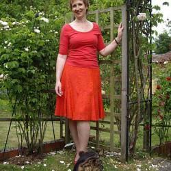 red brocade skirt
