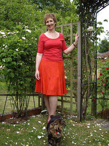 red brocade skirt