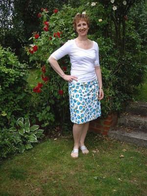 tulip print stretch cotton sateen skirt