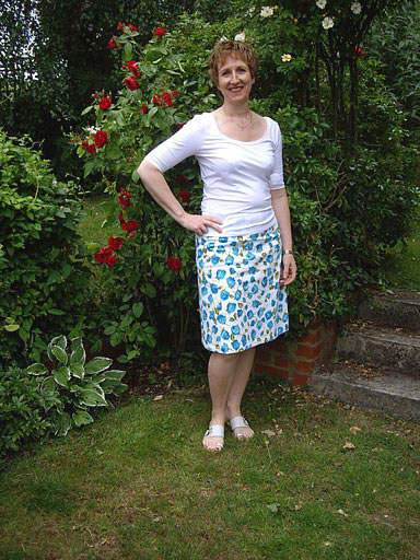 tulip print stretch cotton sateen skirt